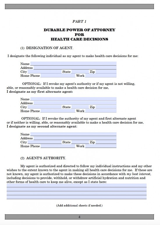 Alaska Medical Power of Attorney Form