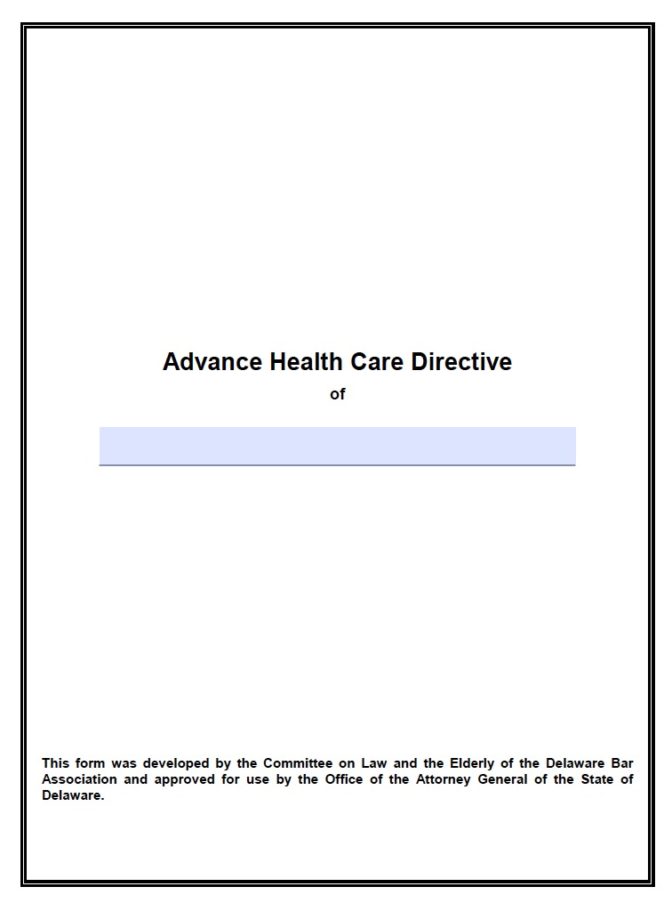 Delaware Living Will Form Advance Directive  Living Will Forms