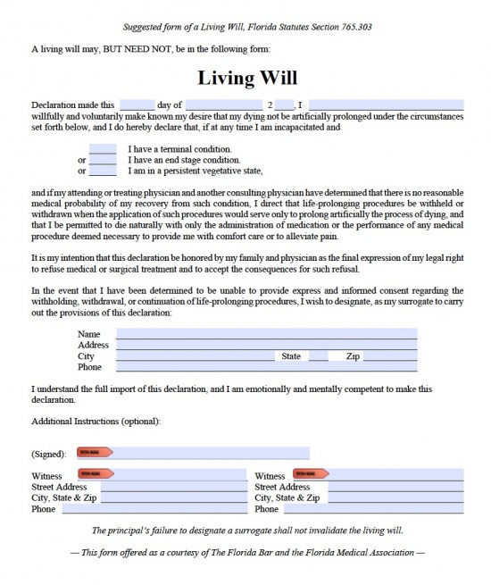 Florida Living Will Form Advance Directive  Living Will Forms