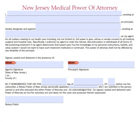 New Jersey Durable Medical Power of Attorney Form