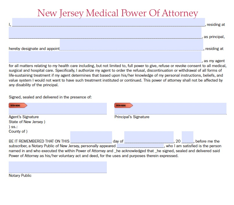 New Jersey Durable Medical Power Of Attorney Form Living Will