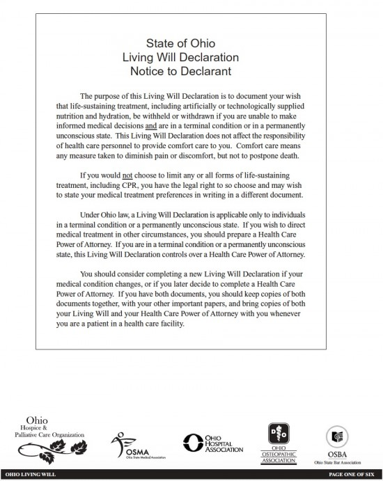 Ohio living will declaration form living will forms for Ohio living will template