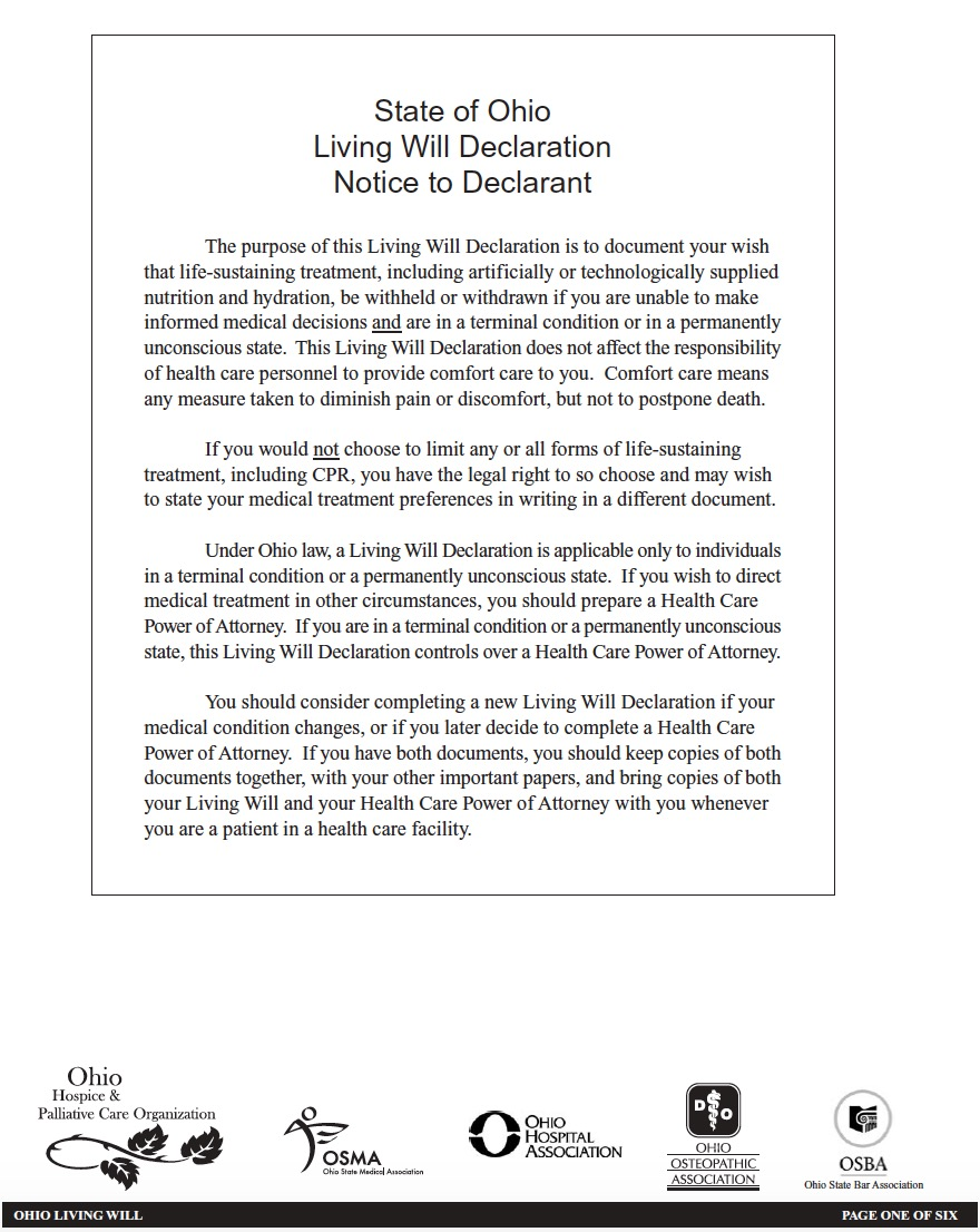 Ohio Living Will Declaration Form - Living Will Forms ...