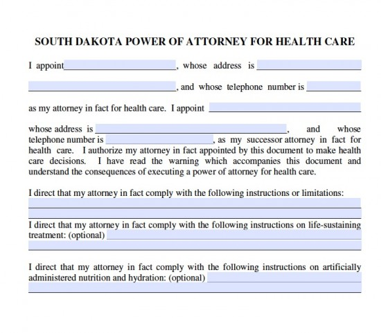 South Dakota Medical Power Of Attorney Form - Living Will Forms