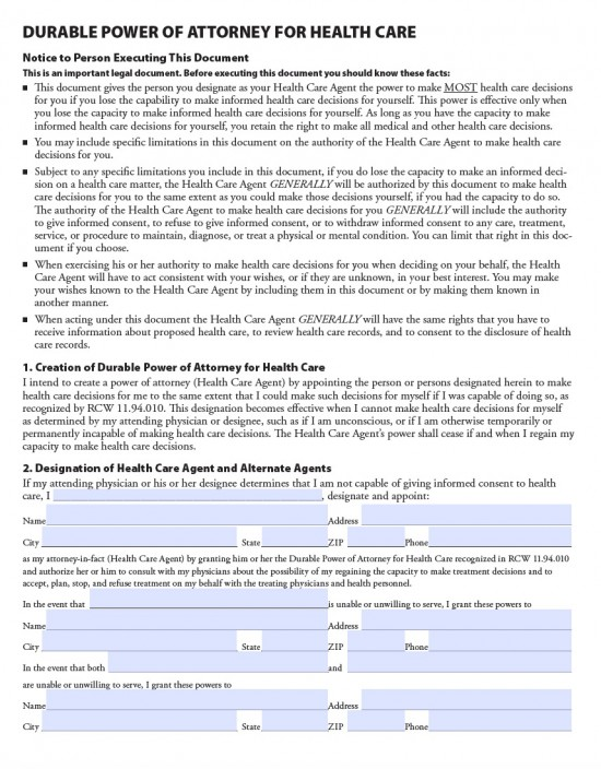 Washington Medical Power Of Attorney Form - Living Will Forms