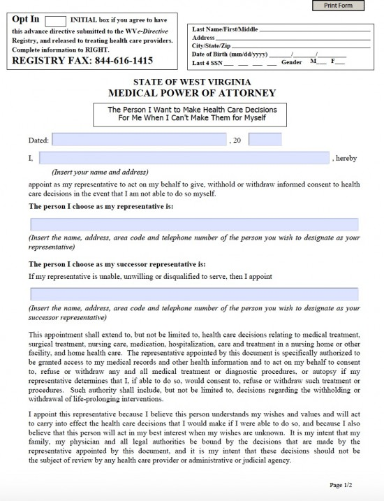 West Virginia Medical Power Of Attorney Form - Living Will Forms