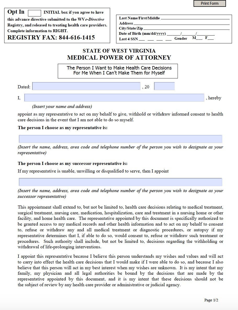 West Virginia Medical Power Of Attorney Form Living Will Forms