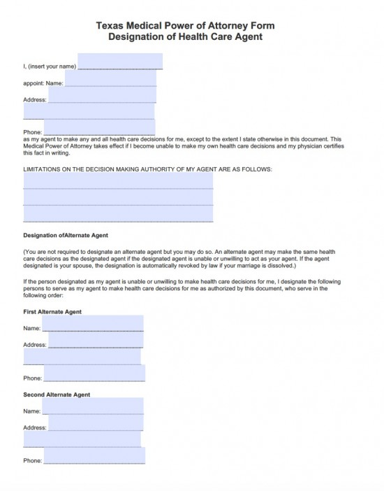 Texas Durable Medical Power of Attorney Form